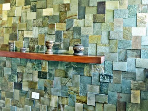 Mosaico variado 3D quartzito verde