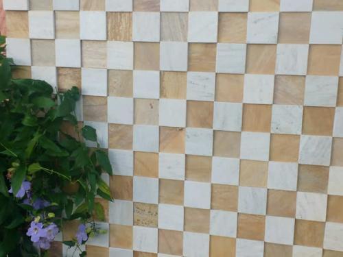 Mosaico 10x10 Branco e Amarelo